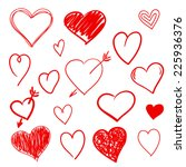hand drawn hearts set | Shutterstock .eps vector #225936376