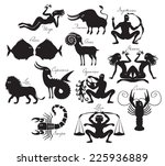 vector set of zodiac signs in... | Shutterstock .eps vector #225936889