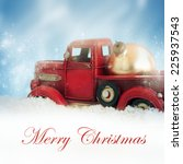 vintage with red truck with... | Shutterstock . vector #225937543