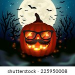 halloween hipster pumpkin  ... | Shutterstock .eps vector #225950008