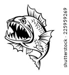 angry fish in cartoon style...   Shutterstock .eps vector #225959269