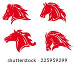 Stock vector red horse heads for mascot and tattoo design 225959299