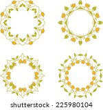 set of floral branch frames | Shutterstock .eps vector #225980104