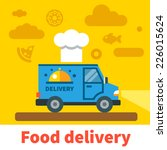 Food Delivery Car. Vector Flat...