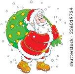 santa claus carrying a big bag... | Shutterstock .eps vector #226019734