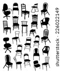 chair silhouettes set | Shutterstock .eps vector #226022149