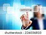 hand of business women pushing... | Shutterstock . vector #226036810