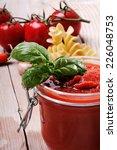 jar of tomato sauce  freshly... | Shutterstock . vector #226048753