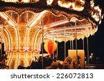 Retro Carousel At Black Night