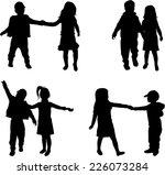 children silhouettes  | Shutterstock .eps vector #226073284