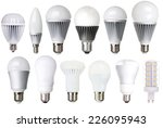 Small photo of set of LED bulbs isolated on white background