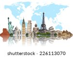 famous monuments of the world... | Shutterstock . vector #226113070