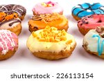 colorful delicious donuts... | Shutterstock . vector #226113154