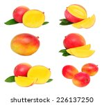 set whole and sliced mango... | Shutterstock . vector #226137250