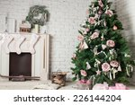 Image Of Chimney And Decorated...