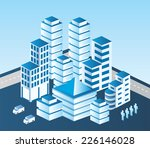 isometric  city in blue tones | Shutterstock . vector #226146028
