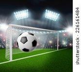 soccer ball flies into the goal   Shutterstock . vector #226161484