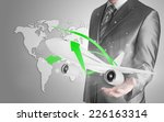 businessman with airplane over...   Shutterstock . vector #226163314