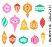Set of retro christmas ornaments. | Shutterstock vector #226192654