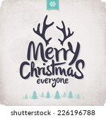 retro vintage merry christmas... | Shutterstock .eps vector #226196788