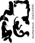 mermaid silhouette set  four... | Shutterstock .eps vector #226214590