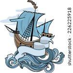 marine emblem  ship going over... | Shutterstock .eps vector #226225918