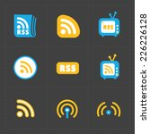 rss sign icons. rss feed...   Shutterstock .eps vector #226226128