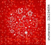 red blurred new year card with... | Shutterstock .eps vector #226234054