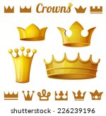 set 2 of royal gold crowns... | Shutterstock .eps vector #226239196