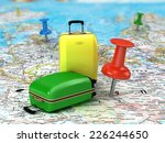 travel suitcase with pushpins ... | Shutterstock . vector #226244650