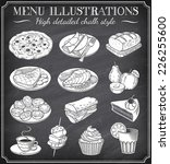 vector chalkboard food... | Shutterstock .eps vector #226255600