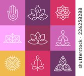 Vector Yoga Icons And Round...