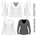 women's v neck long sleeve t... | Shutterstock .eps vector #226277503