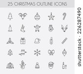 christmas outline icons.... | Shutterstock .eps vector #226287490