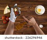 cook chef hands with smartphone ... | Shutterstock . vector #226296946