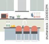 modern flat design kitchen...   Shutterstock .eps vector #226303294