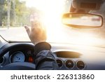 driver blinded by the sun in... | Shutterstock . vector #226313860