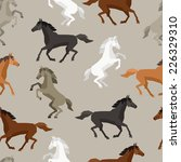 Stock vector seamless pattern with horse in flat style 226329310