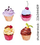 set of watercolor cupcakes.... | Shutterstock .eps vector #226344409