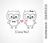 cute owls couple  vector hand... | Shutterstock .eps vector #226351213