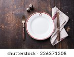 white empty plate and fork and... | Shutterstock . vector #226371208
