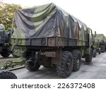 Truck In A Military Convoy On...