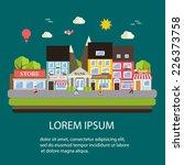 Постер, плакат: Small town urban landscape