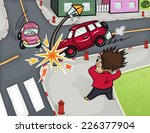 illustration of a car accident... | Shutterstock .eps vector #226377904