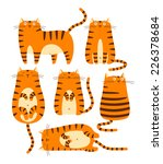 Stock vector set of cute ginger cats cartoon character 226378684