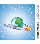 airliner flying around the earth | Shutterstock .eps vector #22642210