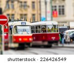 red tram  intentional blurred... | Shutterstock . vector #226426549