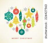 christmas greeting card. heart...   Shutterstock .eps vector #226427563