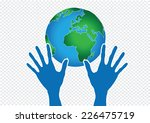 hand holding world and globe... | Shutterstock .eps vector #226475719