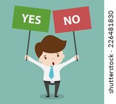 business man with a yes or no...   Shutterstock .eps vector #226481830